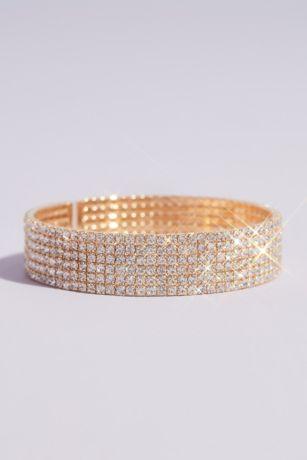 Circle Cut Rhinestone Stack Cuff Bracelet