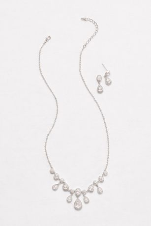 Pave Cubic Zirconia Pear Necklace and Earring Set