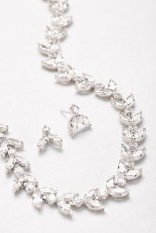Cubic Zirconia Leaves Necklace and Earring Set