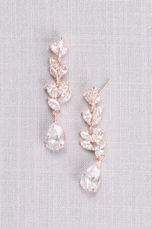 Cubic Zirconia Laurel Leaf Drop Earrings