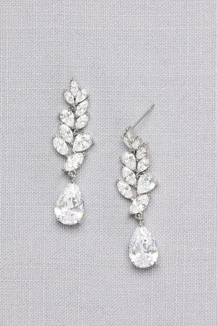 Laurel Leaf Cubic Zirconia Drop Earrings