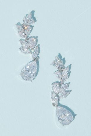 Laurel Leaf Cubic Zirconia Drop Earrings