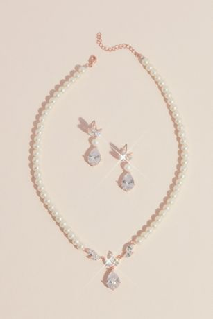 Teardrop Crystal Pearl Earrings and Necklace Set