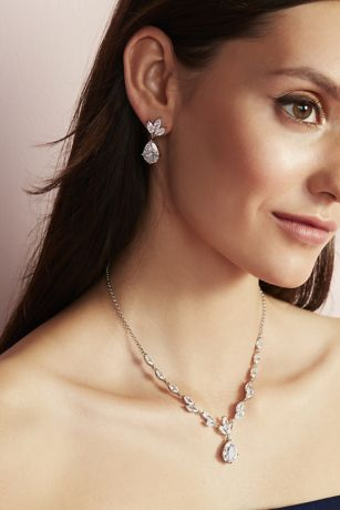 Leafy Cubic Zirconia Necklace and Earring Set