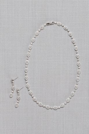 Halo Marquise Cubic Zirconia Jewelry Set