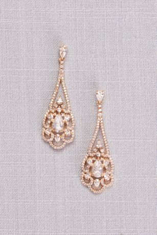 Pear Cubic Zirconia Filigree Chandelier Earrings