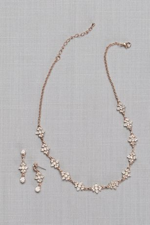 Floral Burst Crystal Necklace and Earring Set