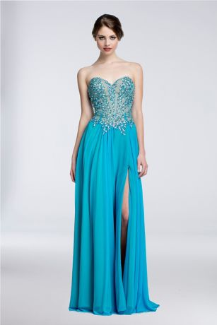 Long A-Line Strapless Dress - Terani Couture