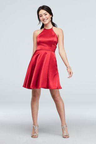 Short High-Neck Satin Dress with Open Lace-up Back