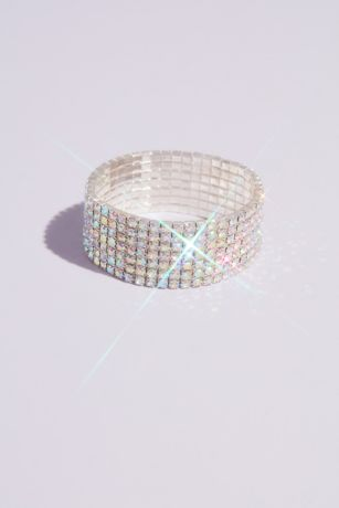 Iridescent Crystal Stretch Cuff Bracelet