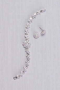 Cubic Zirconia Dahlia Bracelet and Earring Set