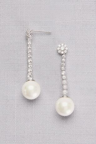 Graduated Cubic Zirconia Drop Earrings with Pearls