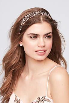 Crystal Lattice Headband with Organza Ties