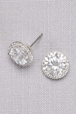 Cubic Zirconia Solitaire Pave Posts