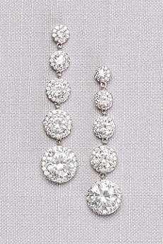 Graduated Cubic Zirconia Solitaire Pave Drops