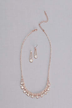 Crystal Chain Round-Cut Necklace and Earring Set
