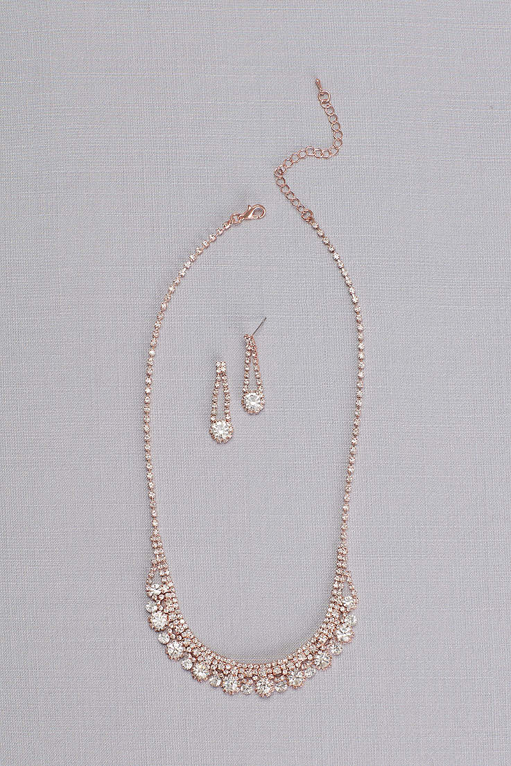 Crystal Chain Round Cut Necklace And Earring Set