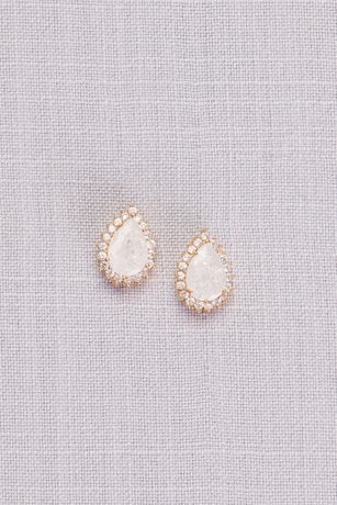 White Cubic Zirconia Halo Teardrop Earrings