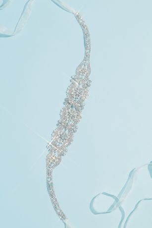 Graduated Pearl and Crystal Blossom Medallion Sash