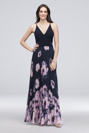Pleated And Printed Jersey Maxi Dress