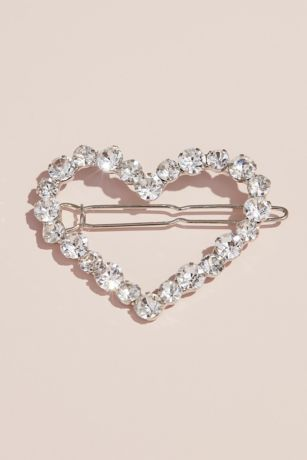Crystal Heart Flower Girl Barrette