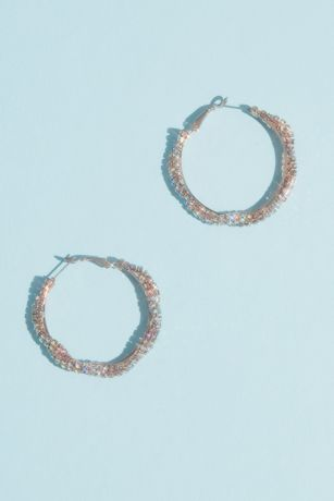 Iridescent Crystal Twist Hoop Earrings