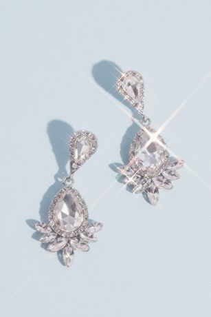Pear Cut Drop Earrings with Marquise and Pave Halo