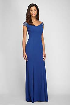 Long Fit and Flare Off the Shoulder Formal Dresses Dress - Alex Evenings