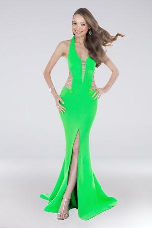 Long Mermaid/ Trumpet Halter Dress - Terani Couture