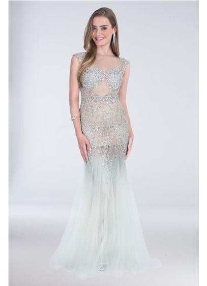 Cap-Sleeve Tulle Mermaid Dress with Beading   David\'s Bridal