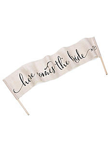 Here Comes The Bride Burlap Banner 17101