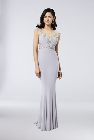 Beaded Jersey Sheath Gown with Illusion Neckline