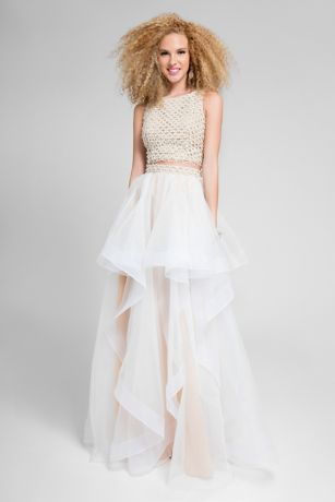 Long Ballgown Halter Dress - Terani Couture