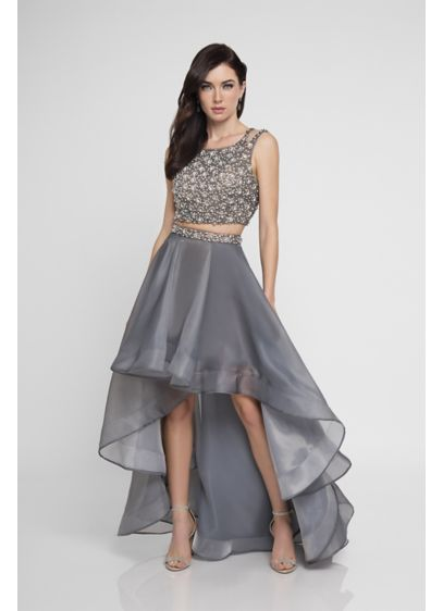 Beaded Organza Two Piece Dress With High Low Skirt Davids Bridal