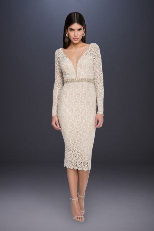Tea Length Long Sleeves Dress - Terani Couture