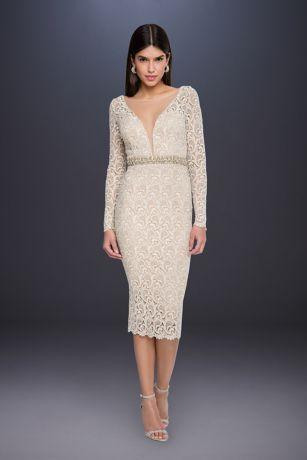 13aa581e Tea Length Long Sleeves Dress - Terani Couture