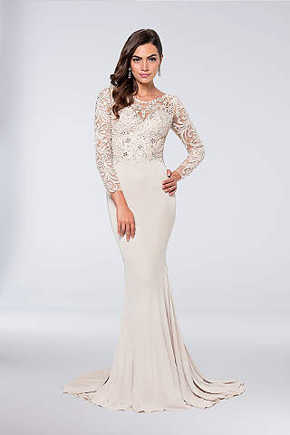 K'Mich Weddings - wedding planning - mother of the day dresses - Long Sheath Long Sleeves Formal Dresses Dress - Terani Couture