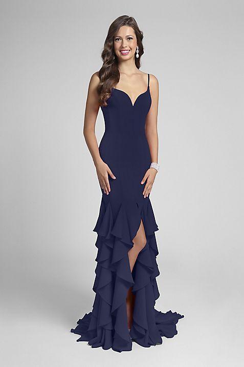 Ruffled Stretch Georgette Sheath Gown | David\'s Bridal
