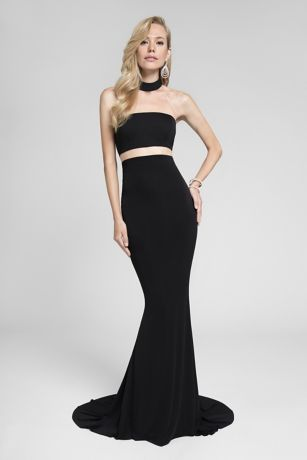 Long Sheath Strapless Dress - Terani Couture