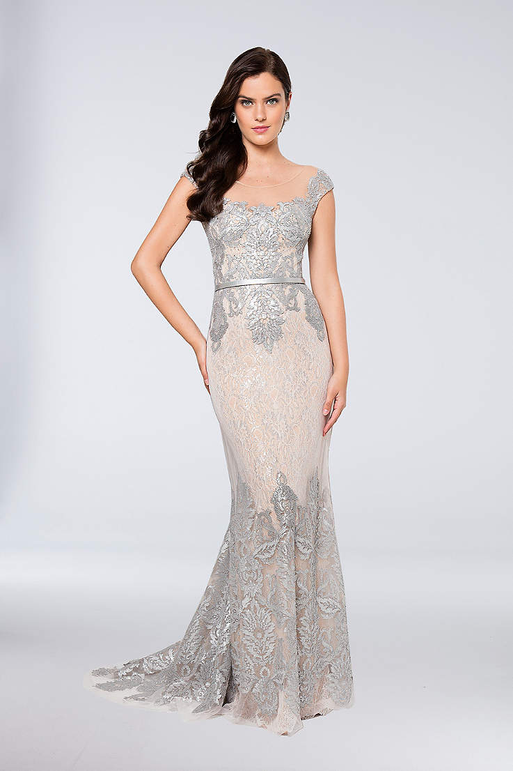 af33ef32b3d Long Sheath Cap Sleeves Dress - Terani Couture