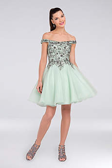 Short Ballgown Off the Shoulder Cocktail and Party Dress - Terani Couture