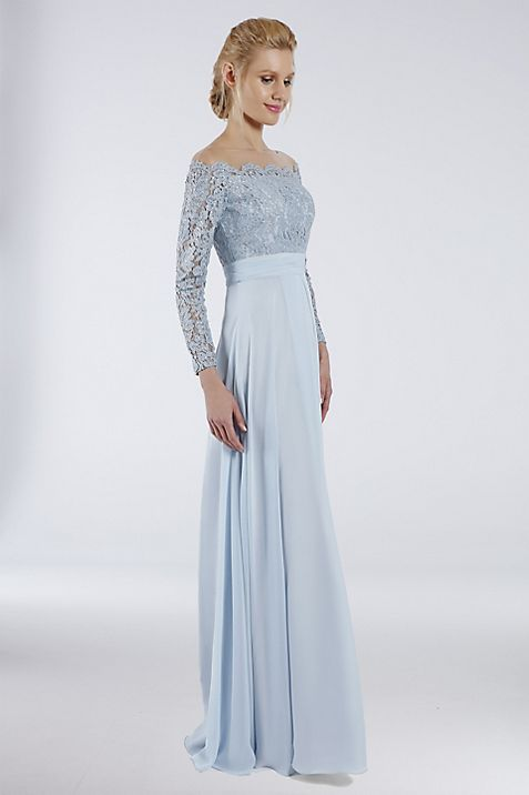 Illusion Off-The-Shoulder Gown with Lace Bodice | David\'s Bridal
