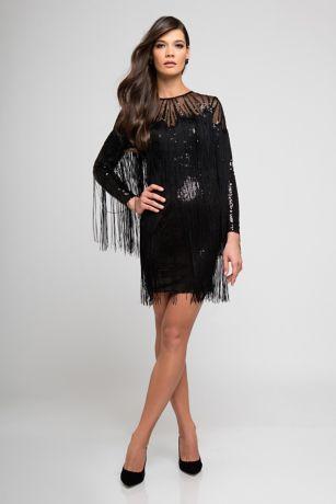 Short Sheath Long Sleeves Dress - Terani Couture