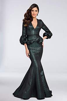 Long Mermaid/ Trumpet 3/4 Sleeves Formal Dresses Dress - Terani Couture