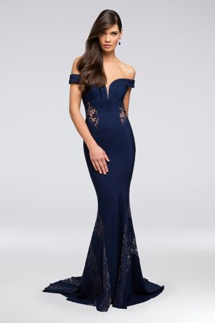 Long Mermaid/ Trumpet Off the Shoulder Dress - Terani Couture
