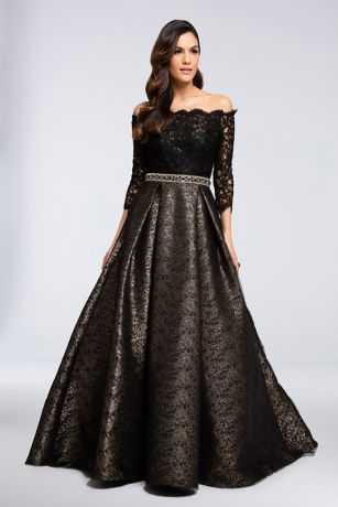 Long Ballgown Off the Shoulder Dress - Terani Couture