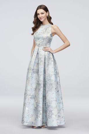 Floral Jacquard Sleeveless Ball Gown with Pockets