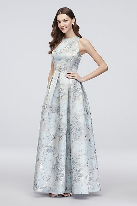 Floral Jacquard Sleeveless Ball Gown with Pockets | David\'s Bridal