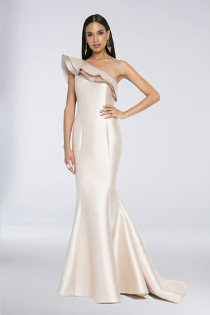 One-Shoulder Mikado Mermaid Dress with 3D Flowers | David\'s Bridal