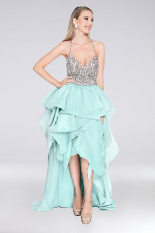 High Low Ballgown Spaghetti Strap Dress - Terani Couture